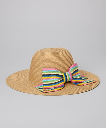 Betsey Johnson Natural Stripe Bow Floppy Sun Hat