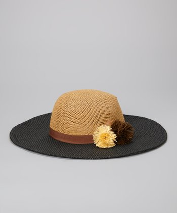 Betsey Johnson Brown & Black Pom-Pom Floppy Sun Hat