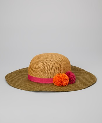 Betsey Johnson Fuchsia & Tan Pom-Pom Floppy Sun Hat