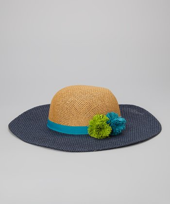 Betsey Johnson Turquoise & Tan Pom-Pom Floppy Sun Hat
