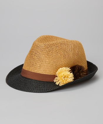 Betsey Johnson Brown & Black Pom-Pom Fedora