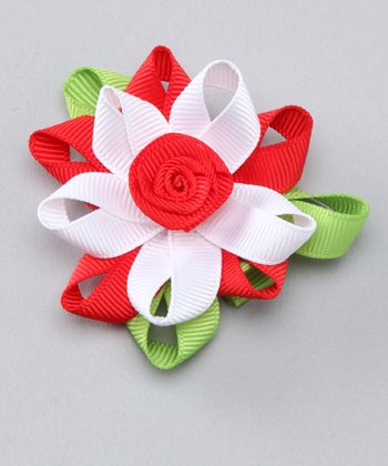 Red & White Flower Clip