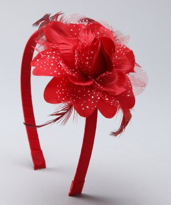 Red Feather Flower Headband