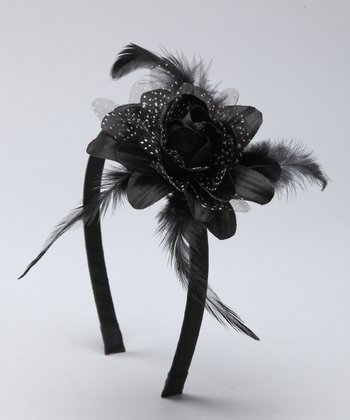 Black Feather Flower Headband
