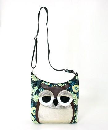 Teal Floral Owl Canvas Crossbody Bag