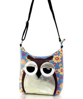Blue Floral Owl Canvas Crossbody Bag