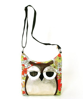 Red Floral Owl Canvas Crossbody Bag