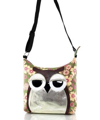 Pink & Green Floral Owl Crossbody Bag