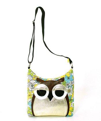 Yellow Floral Owl Crossbody Bag