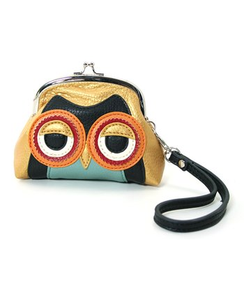 Orange Mini Owl Wristlet
