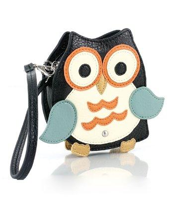 Black Mini Owl Coin Pouch Wristlet