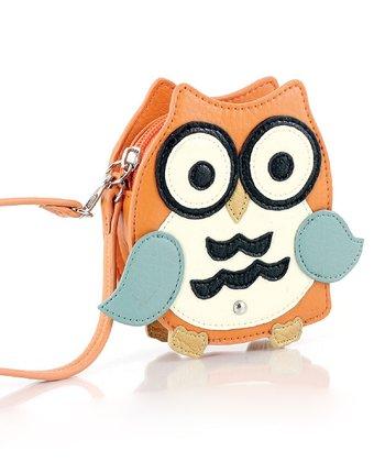 Orange Mini Owl Coin Pouch Wristlet