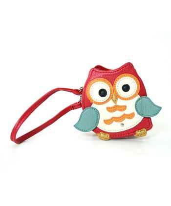 Red Mini Owl Coin Pouch Wristlet