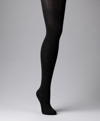 Black Wool-Blend Tights