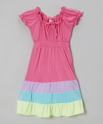 Pink Stripe Puff-Sleeve Maxi Dress - Toddler & Girls