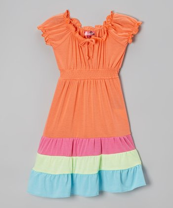 Orange Stripe Puff-Sleeve Maxi Dress - Toddler & Girls