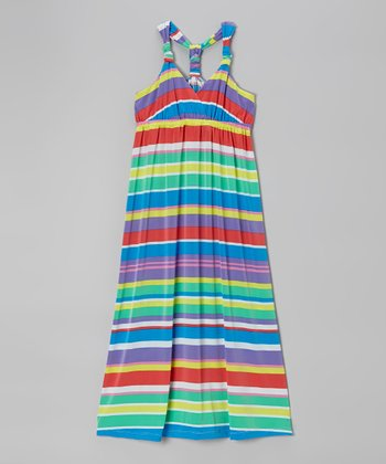 Blue & Yellow Knotted Maxi Dress - Girls