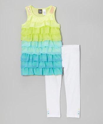 Pogo Club Turquoise Kory Ruffle Tunic & White Leggings