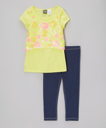 Pogo Club Yellow Floral Caitlyn Tunic & Leggings - Toddler & Girls