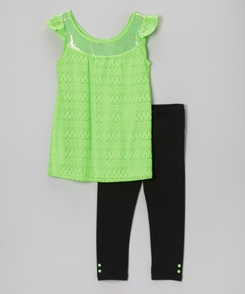 Pogo Club Neon Lime Lace Julinda Ann Tunic & Leggings - Toddler & Girls
