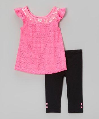 Pogo Club Neon Lace Julinda Ann Pink Tunic & Leggings - Toddler & Girls