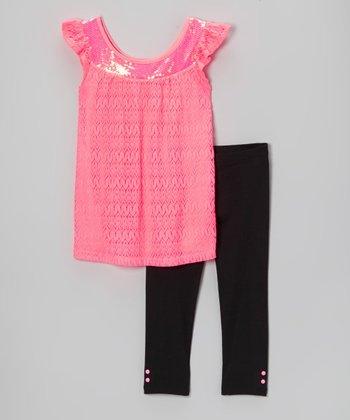 Pogo Club Neon Coral Lace Julinda Ann Tunic & Leggings - Toddler & Girls