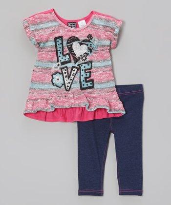 Pogo Club Pink Stripe 'Love' Lorraine Ann Sweater & Jeggings - Toddler