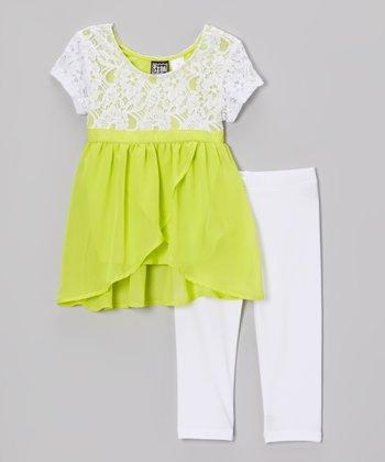 Pogo Club Lime Lace Selma Tunic & Leggings - Girls