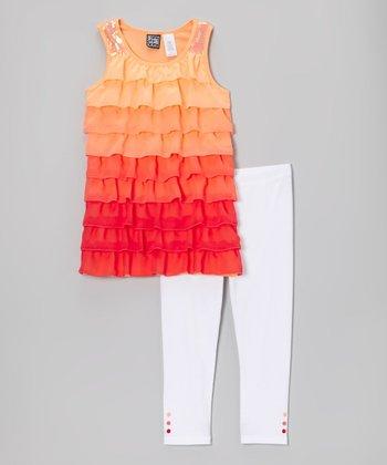 Pogo Club Coral Ruffle Kory Tunic & Leggings - Girls