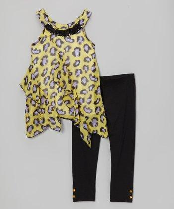Pogo Club Yellow Ruffle Tamara Tunic & Leggings - Girls