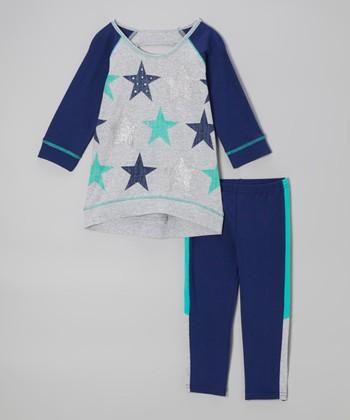 Pogo Club Blue & Gray Star Top & Pants - Girls