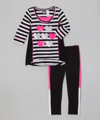 Pogo Club Black & White Stripe Heart Morgan Top & Pants - Girls