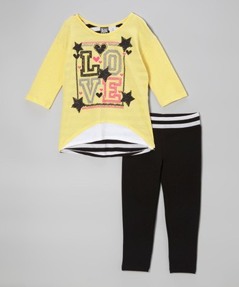 Pogo Club Yellow 'Love' Stacy Hi-Low Top & Pants - Girls