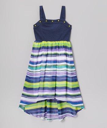 Pogo Club Blue & Lavender Stripe Jennifer Hi-Low Dress - Girls