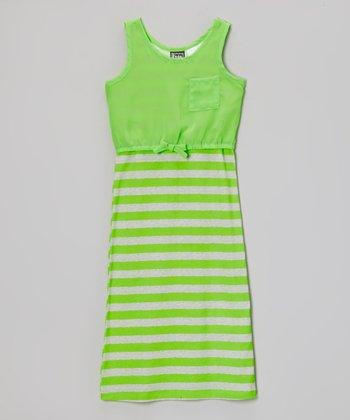 Pogo Club Neon Lime Stripe Carly Layered Maxi - Girls