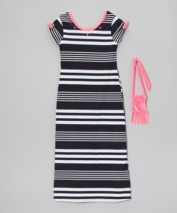 Pogo Club Black Stripe Mandy Maxi Dress & Purse - Girls