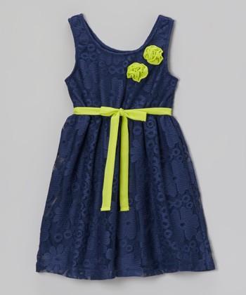 Pogo Club Navy Rosette Lace Abbey Dress - Girls