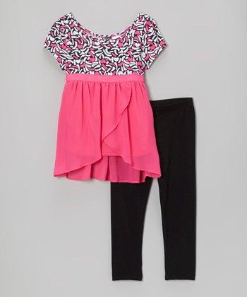 Pogo Club Pink Jordi Tulip Tunic & Leggings - Girls