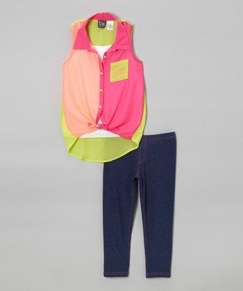 Pogo Club Neon Pink Brandy Color Block Tunic & Jeggings - Girls