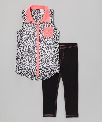 Pogo Club Black & Orange Leopard Lily Tunic & Jeggings - Girls