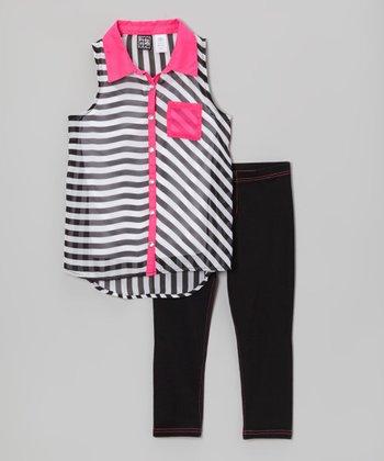 Pogo Club Black & Pink Stripe Wynona Tunic & Jeggings