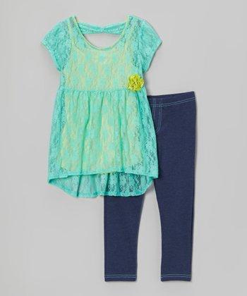 Pogo Club Turquoise Lace Ariel Tunic & Jeggings - Girls