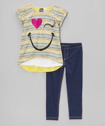 Pogo Club Yellow Stripe Smiley Lorraine Sweater & Jeggings - Girls
