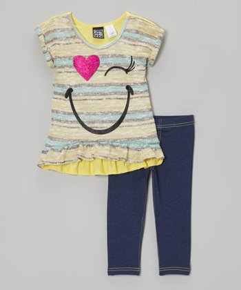 Pogo Club Yellow Stripe Lorraine Ann Sweater & Jeggings - Toddler & Girls