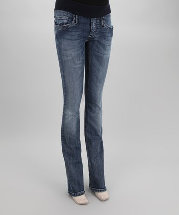 Stoned Wash Maternity Under-Belly Straight-Leg Jeans