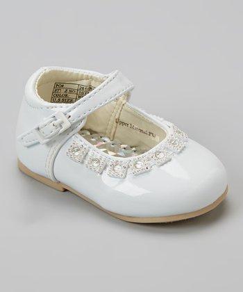 Angels New York White Patent Rhinestone Mary Jane