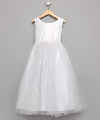 White Organza Beaded Dress - Girls