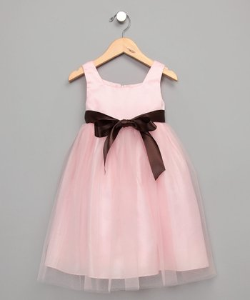 Pink Organza Satin Dress - Infant, Toddler & Girls