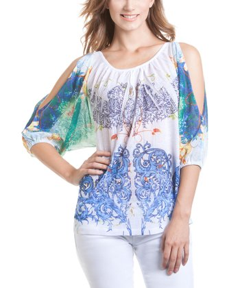 Blue & Green Cutout Sublimation Top
