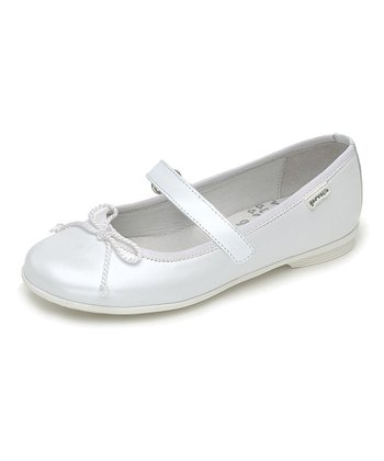 garvalin White Bow Leather Mary Jane
